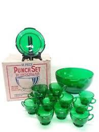 vintage emerald green 14pc depression