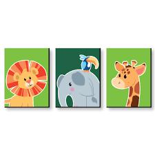 Jungle Party Animals Safari Zoo Animal Nursery Wall Art Kids Room Decor 7 5 X 10 Set Of 3 Prints Walmart Com Walmart Com