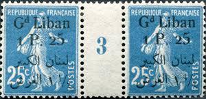 Occupation militaire et mandat français : Syrie, Grand Liban, Alaouites |  25 centimes bleu Semeuse camée