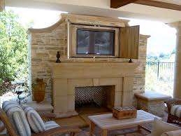 fireplace tv outdoor patio chimney