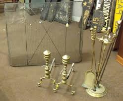 pair of brass ring turned andirons a