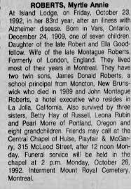Annie Myrtle Roberts death Ottawa citizen October 25, 1992 page 55 ...