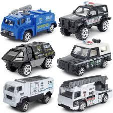 Set 6 xe Cảnh sát SWAT Mini tinh xảo bằng hợp kim và nhựa ...