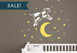 Cow Jumped Over The Moon Vinyl Wall Decal Set For Nursery Tweet Heart Home Design