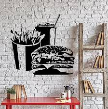 Vinyl Wall Decal Fast Food Hamburger French Fries Soft Drink Stickers Unique Gift Ig4259 Wall Decals Food Wall Art Vinyl Wall Decals