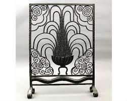 wrought iron art deco fireplace screen