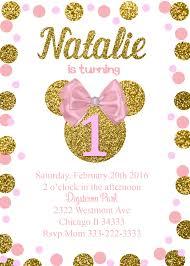 Minnie Mouse Birthday Invitation Faux Glitter Gold Con Imagenes