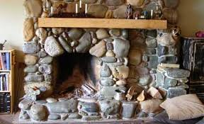 river rock fireplaces cottage