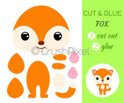 cut and glue baby fox color paper