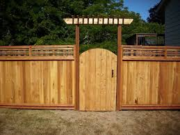 Cedar Gate With Arbor Backyard Fences Modern Fence Lattice Fence