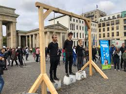 This protesters at the Friday for future demonstration in Berlin. (They are  standing on an iceblock) : pics