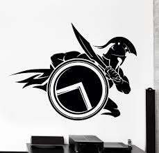 Wall Vinyl Decal Spartan Warrior With Shield And Sword Sparta Home Interior Unique Gift Z4060 Spartan Warrior Spartan Tattoo Warrior Tattoos