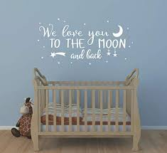 Amazon Com Wall Decal Kids We Love You To The Moon And Back Quote Wall Decals Nursery Vinyl Wall Stickers For Baby Boys And Grils Bedroom Scandinavian Wall Decal Y29 White Home