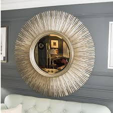 round antique silver wall mirror