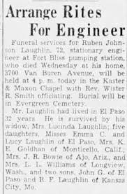 Obituary for Ruben Johnson Laughlin (Aged 72) - Newspapers.com