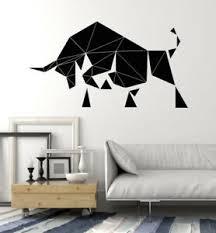Vinyl Wall Decal Geometric Abstract Bull Animal Polygonal Stickers 2527ig Ebay
