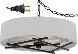 white linen drum plug in pendant light