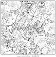 Japans Landschap Met Lotus En Vis Stockvector Rechtenvrij 568938151