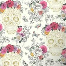 rasch rasch sugar skulls cream wallpaper