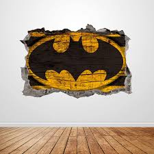 Amazon Com Superhero Wall Decal Smashed 3d Graphic Bat Man Symbol Wall Sticker Art Mural Poster Kids Room Decor Gift Up299 24 W X 16 H Inches Arts Crafts Sewing