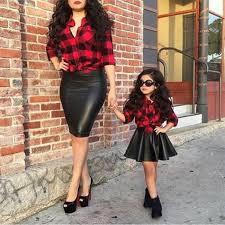 plaid tops shirt leather skirt