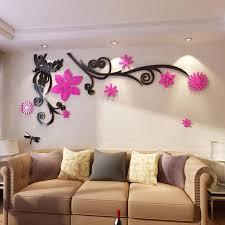 3d flower arcylic wall sticker tv
