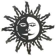 dark bronze sun face metal wall decor