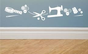 Sewing Images Vinyl Wall Decal Border By Greywolfgraphics On Etsy Sewing Studio Sewing Room Decor Sewing Easy Diy