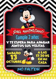 Invitacion Mickey Mouse Con Imagenes Invitaciones De