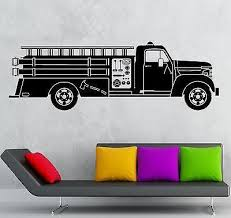 Wall Sticker Vinyl Decal Fire Truck Rescuers For Kids Room Nursery Uni Wallstickers4you