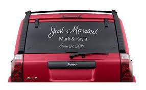 Personalized Just Married Vinyl Car Window Decal Custom Vinyl Sticker Wedding Decor Honeymoon 6 22 Bumper Stickers Funny Bumper Stickers Skull Decal