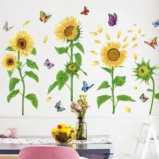 Romantic Sunflower With Butterfly Wall Stickers Leaf Plants Wall Decal Greenery Lover Yellow Floral Wall Mural Living Room Home Decor Thefuns On Artfire
