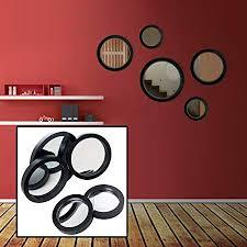 5pc black framed circle mirror set
