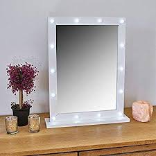 white free standing hollywood mirror