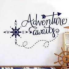 Amazon Com Ljqta Wall Sticker Adventure Awaits Wall Decals Nautical Compass Nursery Boys Decor Nautical Art Home Decorations Bathroom Kdis Room Sticker Home Kitchen
