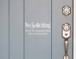 Amazon Com No Soliciting Sticker For Door White No Soliciting Sign For House Removable Vinyl 4x8 Handmade