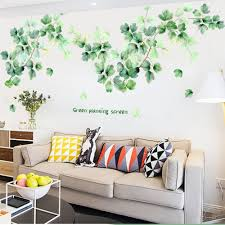Large Green Planting Screen Leaf Wall Stickers Greenery Lover Decals Living Room Couch Background Decor Natural Plants Home Decor Thefuns On Artfire
