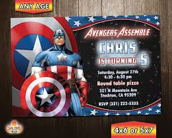Captain America Birthday Party Invitation Captain America
