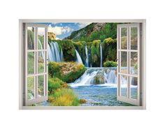 Mountain Waterfalls Cascades Nature View Window 3d Wall Decal Art Decal Wall Art 3d Wall Decals 3d Wall