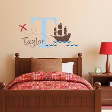 Initial Wall Decal With Name And Pirate Ship Personalized Etsy