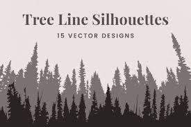Vector Tree Line Silhouettes Pre Designed Photoshop Graphics Creative Market
