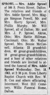 Obituary for Addie Young Sprowl, 1963 - Newspapers.com