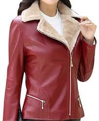 winter warm slim faux leather jacket