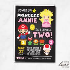 Princess Peach Birthday Party Invitation Luigi Toad Cute