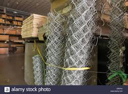 Rolls Of Steel Wire Mesh Chain Link Fence Stock Photo Alamy