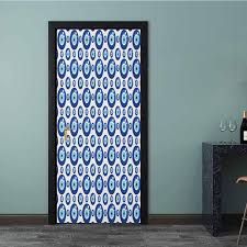Amazon Com Wall Decor Sticker Symmetrical Pattern All Seeing Eye Figures Superstitious Turkish Door Art Wall Decal For Home Office Decoration Blue Pale Blue White 36 X 79 Inch Baby