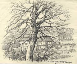 Adrian Hill - Mid 20th Century Charcoal Drawing, Foreground Tree ...