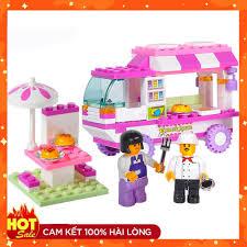 Lego giá rẻ ] Xếp hình lego con gái ⚡ Ảnh thật ⚡ Bộ Đồ Chơi Lắp Ráp Lego xe  làm bánh snack gồm 102pcs Sluban 0155