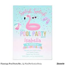 Flamingo Pool Party Birthday Invitation Pink Gold Zazzle Com
