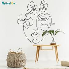 Picasso Line Drawing Wall Decal Head Wreath Windows Decor Living Room Home Decoration Removable Vinyl Wall Stickers Bb651 Wall Stickers Aliexpress